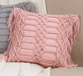 "18"" Square Rose Macrame Pillow"