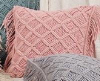 "18"" Square Rose Macrame Grid Pillow"
