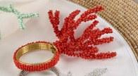 Coral Beaded Coral Napkin Ring
