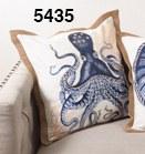 "20"" Square Blue Octopus Jute Pillow"