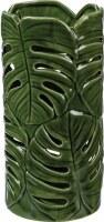 """9"""" Green Tropical Leaf Cermaic Lantern"""