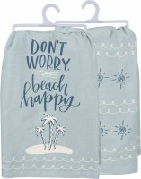 "28"" Square Dont Worry Beach Happy Kitchen Towel"
