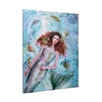 "24"" x 18"" Mermaid, Turtle and Fish Canvas"