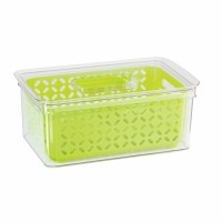 "12"" x 7"" Clear Bin With Green Basket"