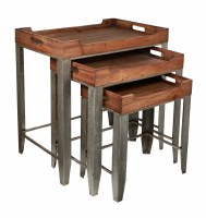 Set of 3 Wooden Nesting Tables With Gray Washed Metal Legs