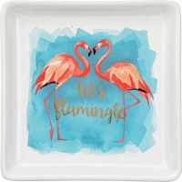 "4"" Square Lets Flamingle Dish"