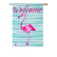 "29"" x 43"" Welcome Flamingo Stripes Flag"