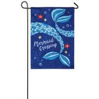 """12"""" x 18"""" Mini Blue Mermaid Crossing Flag"""