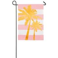 "12"" x 18"" Mini Palm On Pink Stripe Flag"
