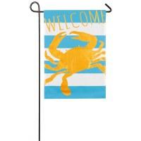 "12""x 18"" Mini Crab Welcome Blue Strip Flag"