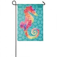 "12"" x 18"" Mini Mutlicolored Seahorse Organza Flag"