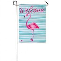 "12"" x 18"" Mini Flamingo Welcome Strip Flag"