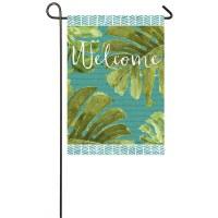 """12"""" x 18"""" Mini Tropical Leaves Welcome Flag"""