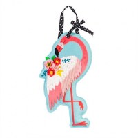 """13"""" x 22"""" Flamingo Wih Flowers Door Hanger"""