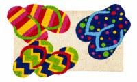 """10"""" x 30"""" Multicolored Flip Flop Coir Door Mat"""