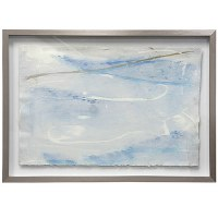 """26"""" x 36"""" Blue and White Abstract Framed"""