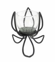 """9"""" Black Metal Flower Votive Candle Holder"""