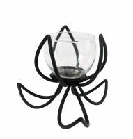 """6"""" Black Metal Flower Votive Candle Holder"""