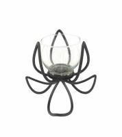 """5"""" Black Metal Flower Votive Candle Holder"""
