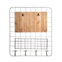 """24"""" x 21"""" Silver Grid With Hooks and Basket"""