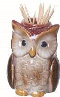 """3"""" White Owl Toothpick Holder"""