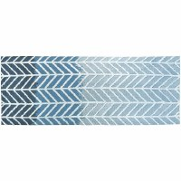 1.9' x 4.6' Straight Arrows Blue Rug
