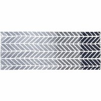 1.9' x 4.6' Straight Arrows Gray Rug