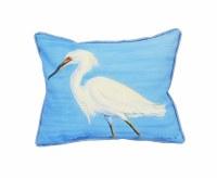 "10"" x 13"" Snowy Egret On Blue Pillow"