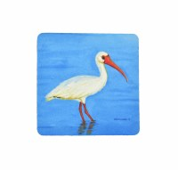 """4"""" Square White Ibis On Blue Coaster"""
