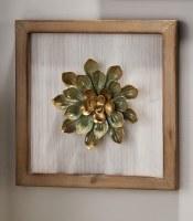 """10"""" Square Aqua and Gold Round Succulent Plaque"""