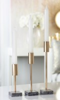 Set of 3 Gold and Balc Marble Taper Holder
