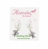 Sterling Silver Turtle With Pearl Drop Earrings
