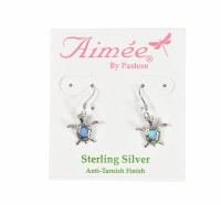 Sterling Silver Opal Turtle Drop Earrings