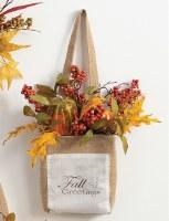 "15"" Pumpkin Fall Greeting Wall Bag"