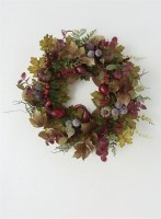 """15"""" Round Purple and Green Fall Wreath"""