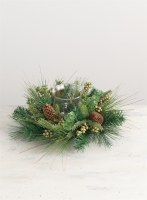 "16"" Mix Faux Pine and Green Berry Centerpiece With Glass Hurricane"