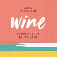 """5"""" Square Age and Glasses Wine Beverage Napkin"""
