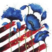 Patriotic Flowers Beverage Napkin