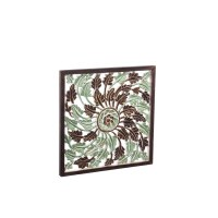 """24"""" Square Green and Brown Openwork Wooden Plaque"""