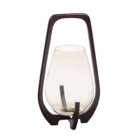 """16"""" Brown Wooden and Glass Contemporary Lantern"""