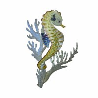 """18"""" x 40"""" Stainless Steel Seahorse and Coral Plauque MM186"""