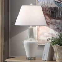 "29"" White and Gray Ceramic Lamp"