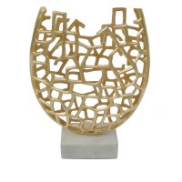 "19"" Gold Openwork Vase With Marble Base"