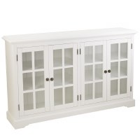 "62"" White 4 Glass Door Credenza"