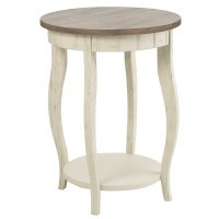 "18"" Round Gray and Distressed White Finish Table"