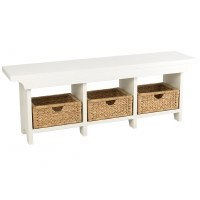 "54"" White 3 Basket Bench"