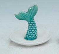 "4"" Turquoise and White Mermaid Tail Ring Holder"