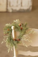 "4.5"" Gray and Green Pine Candle Ring"