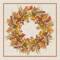 "5"" Square Harvest Wreath Beverage Napkin"