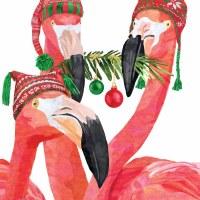 "5"" Square Fa La La Flamingos Beverage Napkin"